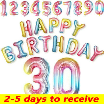 Foil Number Happy Birthday Balloons Rainbow Gradient Color Banner Party Decor