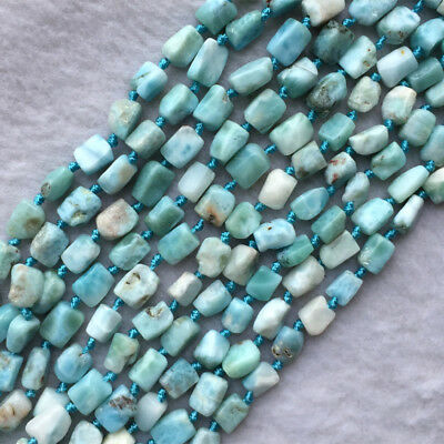 Natural Genuine Sky Blue White Larimar Nugget Free Form Loose Beads 5-7mm