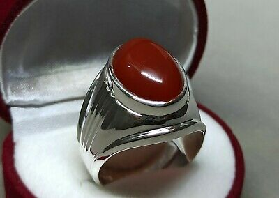 Mens Brown Yemeni Aqeeq Ring Sterling Silver 925 Handmade Agate Ring Aqiq Ring