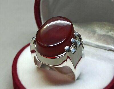 Mens Brown Agate Ring Sterling Silver 925 Aqeeq Ring Handmade Carnelian Ring