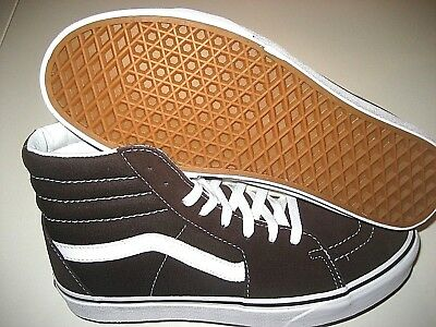 1bd04062ed326d Vans Womens Sk8-Hi Chocolate Torte True White Canvas Suede Skate shoes Size  9