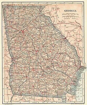 1907 Antique Map of GEORGIA Vintage Georgia State Map Gallery Wall Art 6559