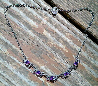 "Antique Silver Plated With Purple Crystal 16"" Necklace Made In Czech Rep"