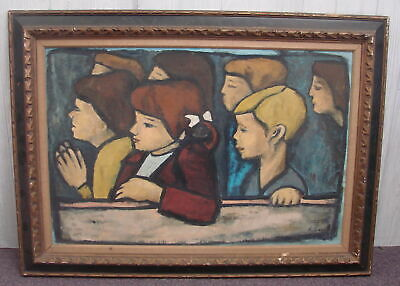 Large A. Suzas Oil Painting On Linen Stylized Impressionism Signed Wood Framed