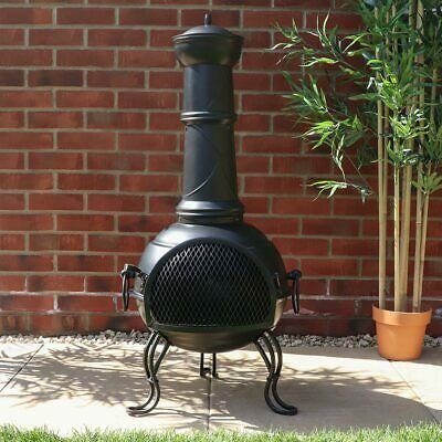 Cast Iron Effect Steel Chiminea Log Burner Fireplace Outdoor Garden WIDO