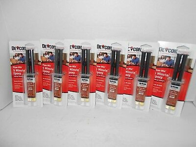 Devcon 20445 Flow-Mix 5-Minute Epoxy - 14 ml Syringe - 6 Packages, NEW