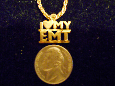 bling gold plated i heart my emt pendant charm fashion hip hop necklace jewelry