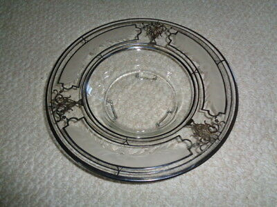 Rare crystal etched glass console bowl Rockwell Sterling Silver Overlay art deco