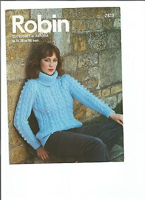 Lovely chunky knitting pattern for ladies sweater - sizes 30-40 inches