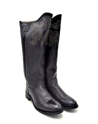 aae8a19c950 OLD WEST BLACK Womens All Leather Snip Toe 12in Cowboy Western Boots ...