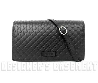 426e40cca933 GUCCI black MICRO GUCCISSIMA embossed wallet with strap MINI bag NIB  Authentic!