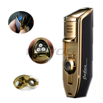 JOBON Triple Flame Torch Jet Butane Cigar Cigarette Lighter Punch Black