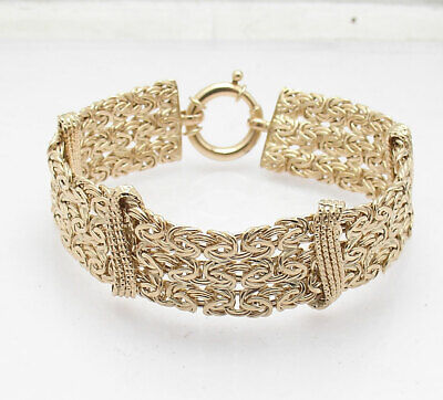 "7"" Triple Row Byzantine Bracelet with Spring Ring Lock Real 14K Yellow Gold"