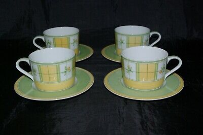 4 x Large Breakfast Tea Coffee Cups & Saucers Yellow Rose Marks & Spencer Mugs
