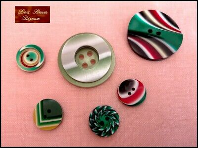6 Vintage French Lea Stein Multi Color Resin Buttons --Green Red