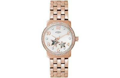 Rotary Ladies Stars Rose Gold SSteel Case Easy Read Dial Bracelet Analogue Watch