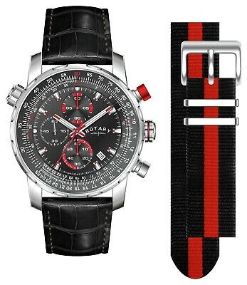 Rotary Men's Interchangeable Leather Strap Chronograph Watch - Black.