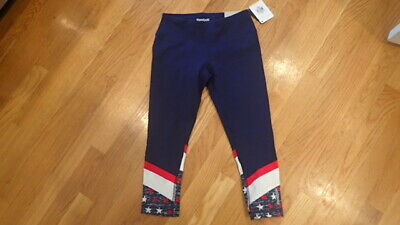 e42a829f120b6 NWT Womens Reebok Capri Sport Pant Athletic Size xs extra small red white  blue