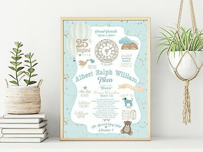 Personalised Blue Hot Air Balloon Day You Were Born Print - Day of Birth Print