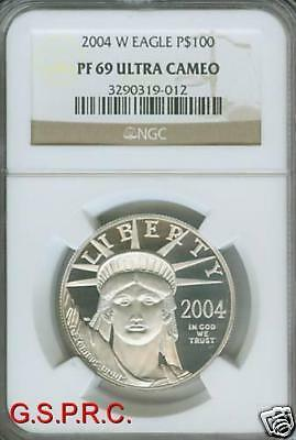2004-W $100 STATUE LIBERTY PLATINUM Eagle 1 Oz. NGC PR69 PROOF PF69 SCARCE Date