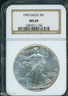 1993 American Silver Eagle S$1 ASE NGC MS69 MS-69 Premium Quality PQ+ !!!