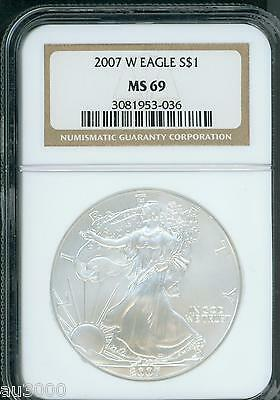 2007-W BURNISHED American Silver Eagle ASE NGC MS69 S$1 MS-69 BEAUTIFUL