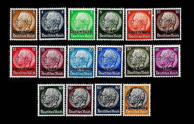 GERMANY. THIRD REICH. OCCUPATION OF LUXEMBOURG. Mi 1-16 MNH