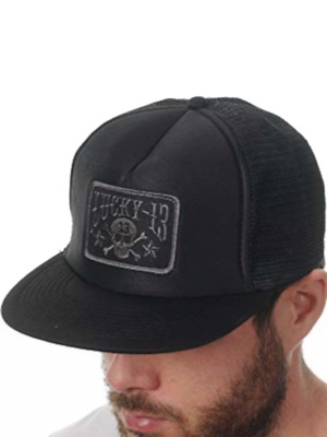0da5f3e6 LUCKY 13 Skull Stars Patch Black Flat Bill Mesh Foam Trucker Snapback Hat  NEW
