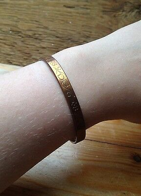 Vintage Engraved Copper Bangle/Hearts & Flowers/Retro/Hippy/Boho/Arts & Crafts