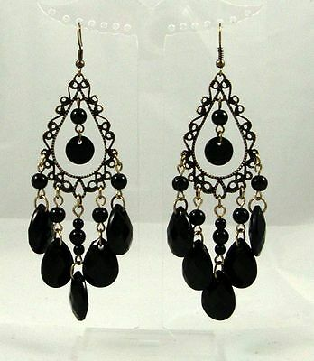 Antique Tone Black Faceted Bead Tear Drop Pair Of Earrings