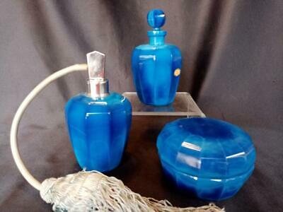 Exceptional Art Deco 3pc Czech Ingrid Lapis Glass 1930s Perfume Vanity SET