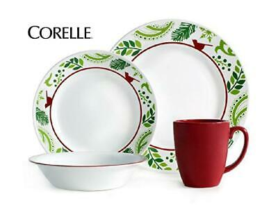 NEW 16-pc Corelle BIRDS and BOUGHS Dinnerware Set *CHRISTMAS Peace Joy Red Green