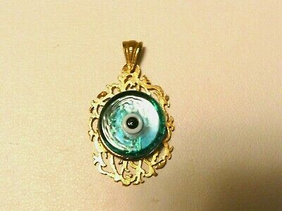 Gold Plated Roman Ancient Vintage Greek Style Murano  Evil Eye Pendant Necklace