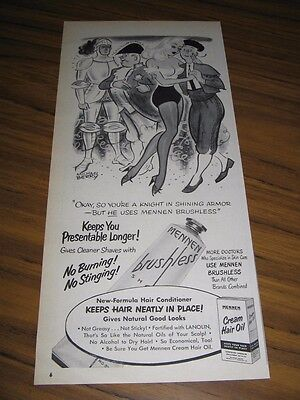 1951 Print Ad Mennen Brushless Shave Cream Pretty Lady Dancing with Man Cartoon