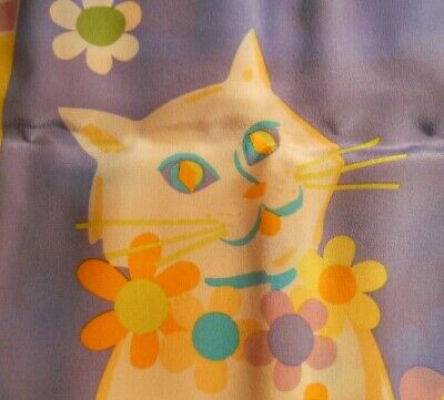 2c5a1c09173f3e Bob Mackie Wearable Art Silk Scarf White Cat Ginger Cat Mod Flowers  Original Box