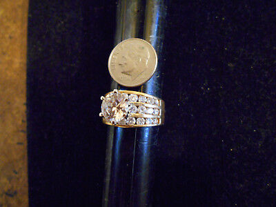 bling gold plated clear cubic women fashion cluster ICED OUT  ring hip hop sz 11