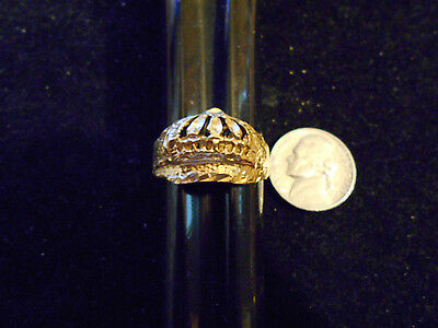 bling gold plated casino cash king queen crown ring hip hop jewelry gp  size 10
