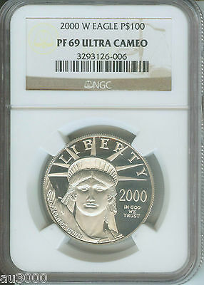 2000-W $100 STATUE LIBERTY PLATINUM EAGLE 1 Oz. NGC PR69 PROOF PF69