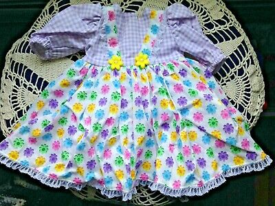 "Hand-made Doll Dress COLORFUL! Fits 18"" Doll fits American Grl Lined & BEAUTIFUL"