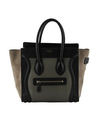 Celine Micro Luggage Tan,Green & Black Leather & Suede Tote