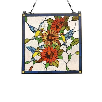 """Tiffany Style Stained Glass Window Panel 24.8"""" Wide x 26"""" Tall Hummingbirds"""