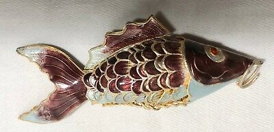 Asian Chinese Gilt  Enamel Articulated Fish Pendant