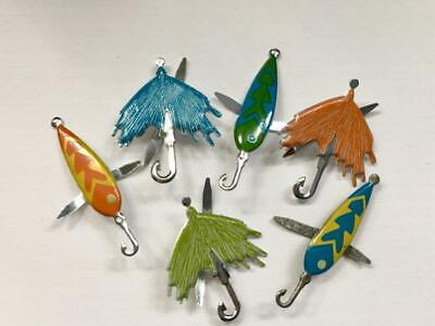 BRADS FISHING LURES pk of 6 split pin craft fish dad fathers cards