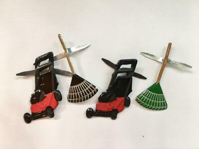 BRADS GARDEN / LAWN pk of 6 split pin craft mower rake garden dad fathers cards