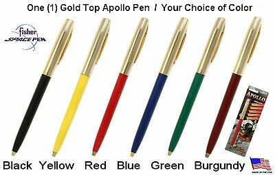 One (1) Fisher Apolo Series Gold Top Space Pen / Your Choice of Color