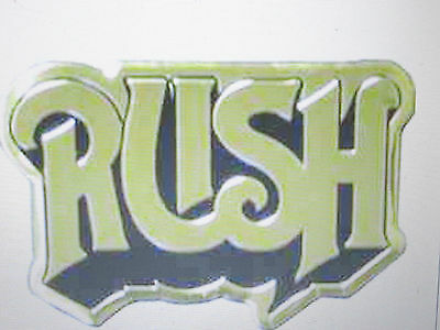 """Rush Logo Black And Gold Colored Metal Sticker 2""""X1 1/4"""" New"""