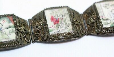 """Antique 1890's Chinese Sterling Silver Copper Export Women Painted Bracelet 7"""""""