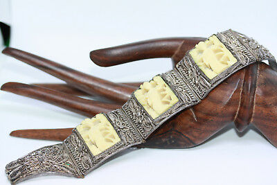 """Antique 1890's Chinese Sterling Silver Export Women's Carved Panel Bracelet 7"""""""