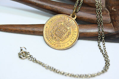 """Vtg King George V & Queen Mary 1911 Coronation Medal Pendant Copper Necklace 16"""""""