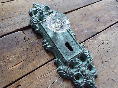 Cast Iron Metal Teal Patina Door Plate with Crystal Knob Skeleton Key Wall Hook